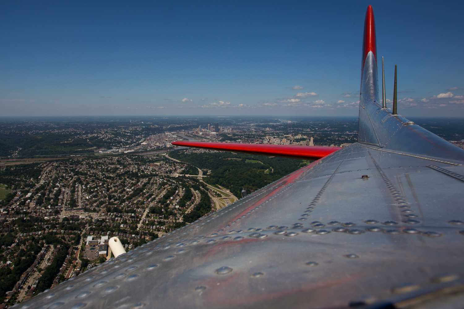 The Madras Maiden, one of the last remaining B-17 bombers, flies back to the Allegheny County Airport during a media flight Monday. (Photo by John Hamilton | Editor-in-Chief)