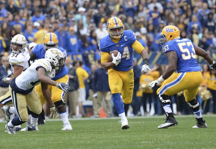 In+the+return+of+Pitt%27s+retro+uniforms+last+October%2C+former+running+back+James+Conner+helped+the+Panthers+to+a+37-34+victory+over+Georgia+Tech+with+60+rushing+yards+on+14+carries.+%28TPN+File+Photo%29