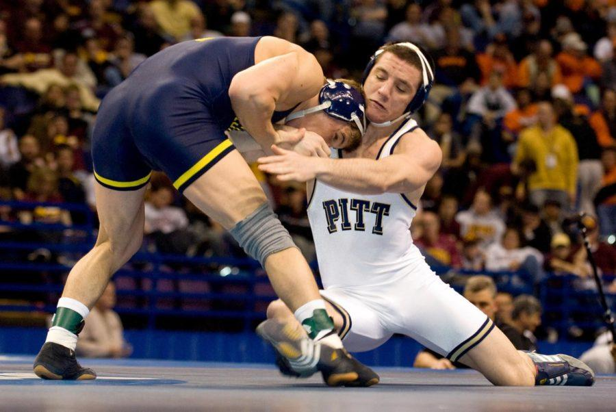 Keith+Gavin+beat+Michigan%27s+Steve+Luke+to+win+the+174-pound+national+championship+in+2008.+%28Photo+Courtesy+of+Pitt+Athletics%29
