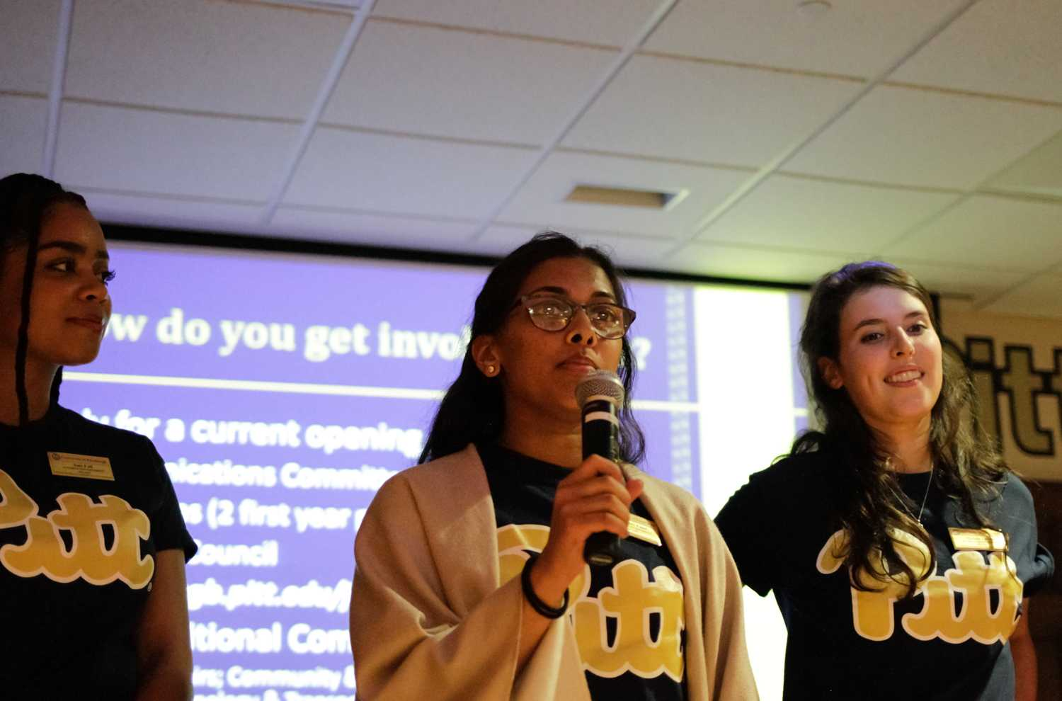 SGB Vice President and Chief of Cabinet, Krish Patel (middle), speaks at the first SGB meeting of the semester. (Photo by Thomas Yang / Staff Photographer)