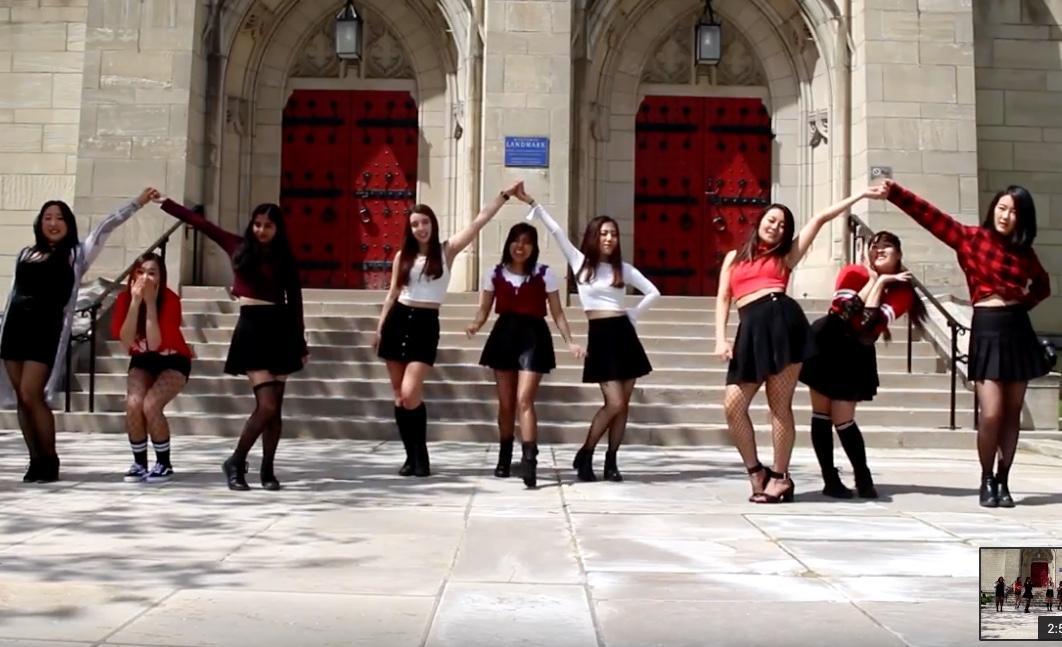Members of FRESA recreated a South Korean pop music video outside of the Stephen Foster Memorial Museum (Screenshot via FRESA YouTube Channel)