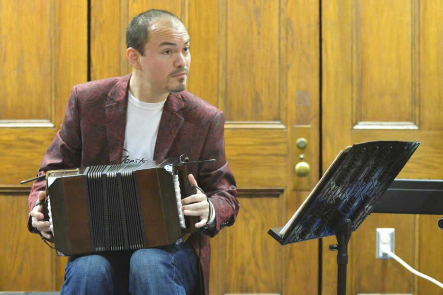 An accordion player participates in Pitt Arts Artful Wednesdays in Nordi's Place. (TPN File Photo)
