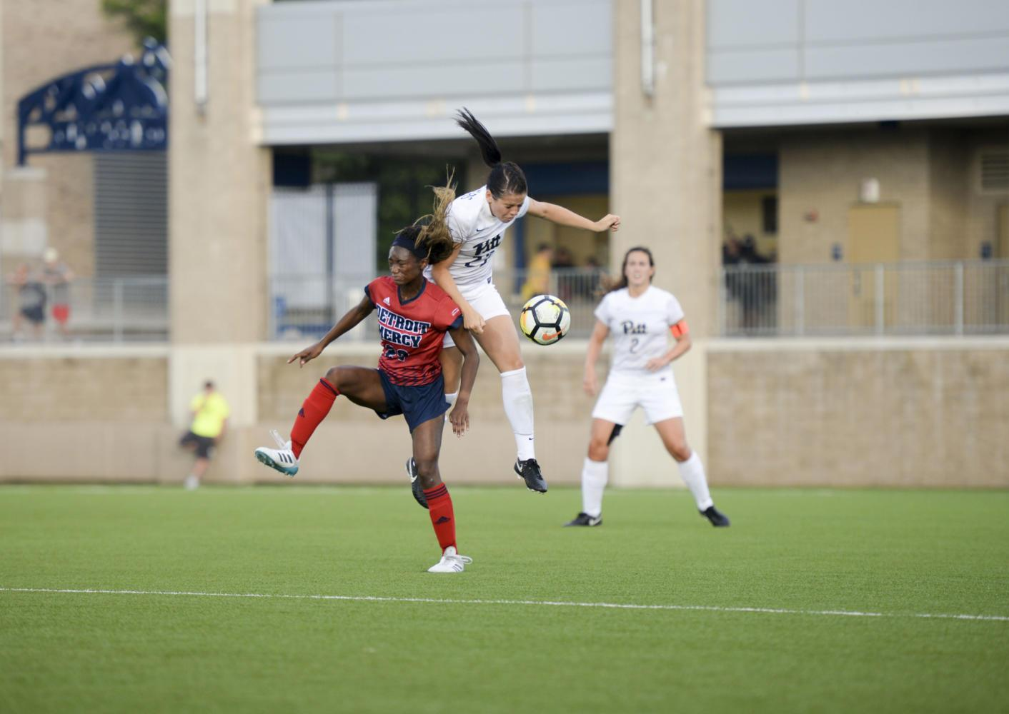 The Pitt women's soccer team defeated the Detroit Mercy Titans 3-1 Wednesday night at Ambrose Urbanic Field. (Thomas Yang | Staff Photographer)