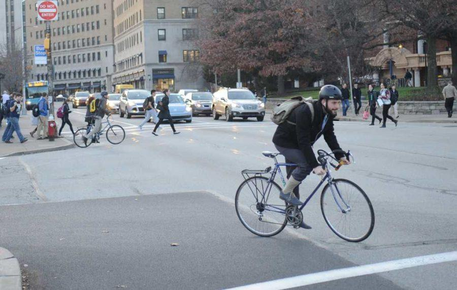 Installation of bike lanes on portions of Forbes Avenue and Bigelow Boulevard will begin Tuesday. (TPN File Photo)