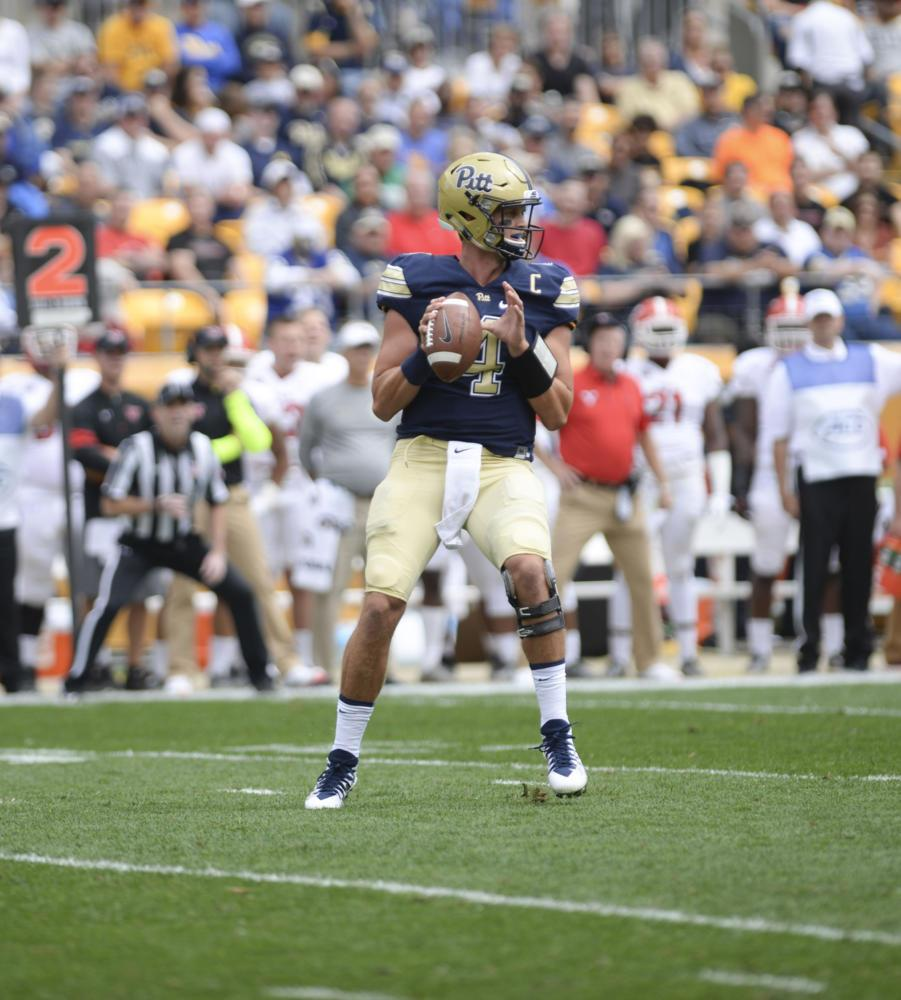 Quarterback Max Browne completed 17 of 24 passes on the day but relied mostly on short, underneath throws. (Photo by Anna Bongardino | Assistant Visual Editor)