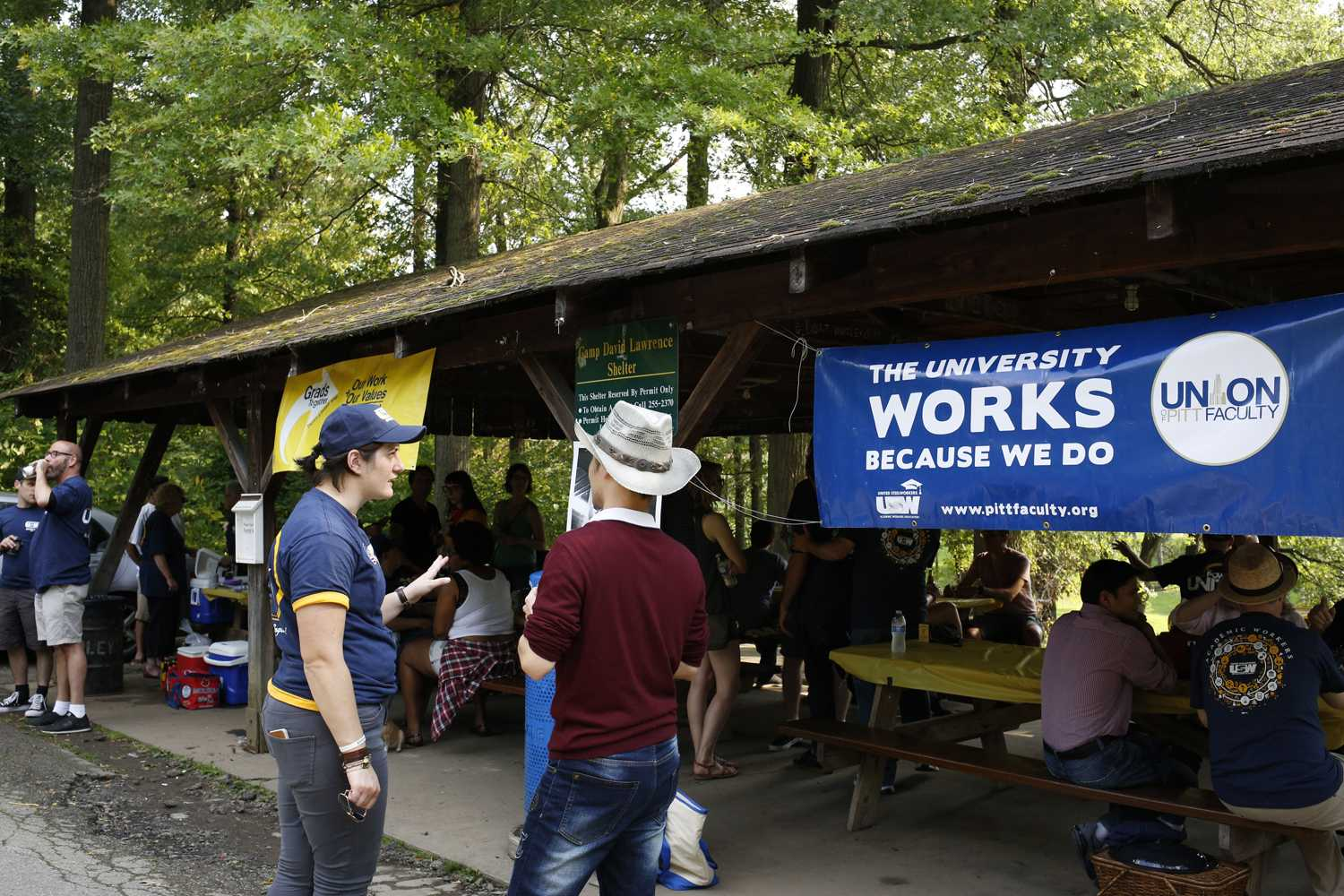 Union supporters and organizers cook out at Camp David Lawrence. (Photo by Thomas Yang | Staff Photographer)