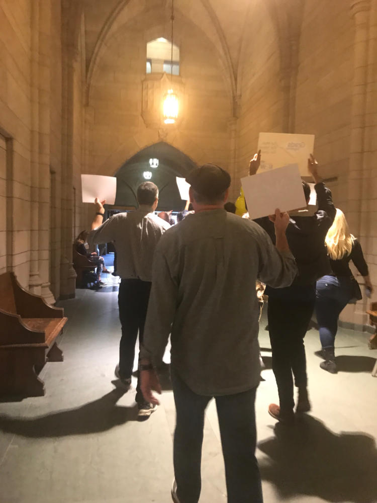 Union supporters deliver letters from elected officials supporting the union to Chancellor Patrick Gallagher Tuesday. (Photo by Janine Faust / Contributing Editor)