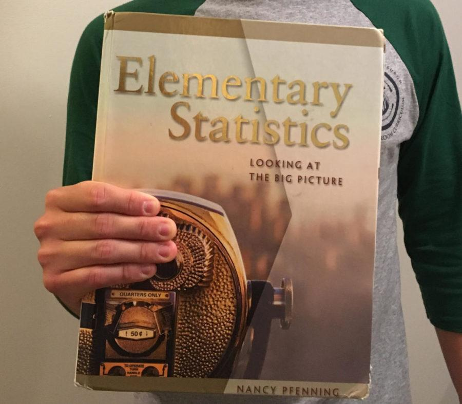 Elementary Statistics: Looking at the Big Picture, textbook written by Pitt Professor Nancy Pfenning, Ph.D.  (Photo by Rachel Glasser | News Editor)