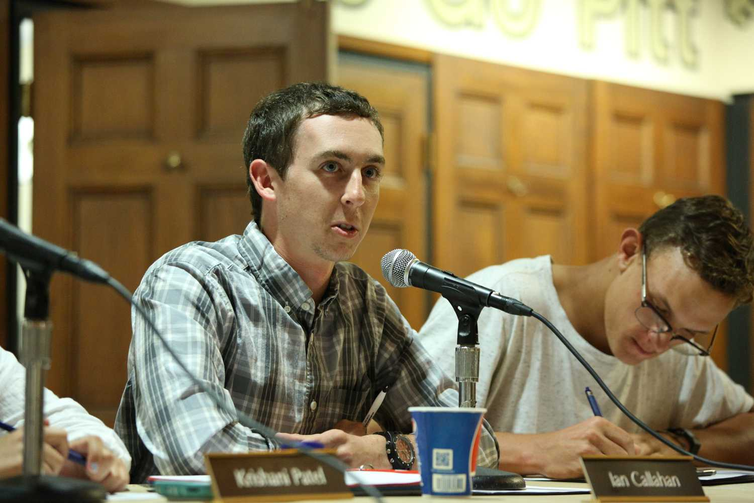 Board member Ian Callahan speaks at the Student Government Board weekly meeting on Tuesday. (Photo by Thomas Yang | Staff Photographer)