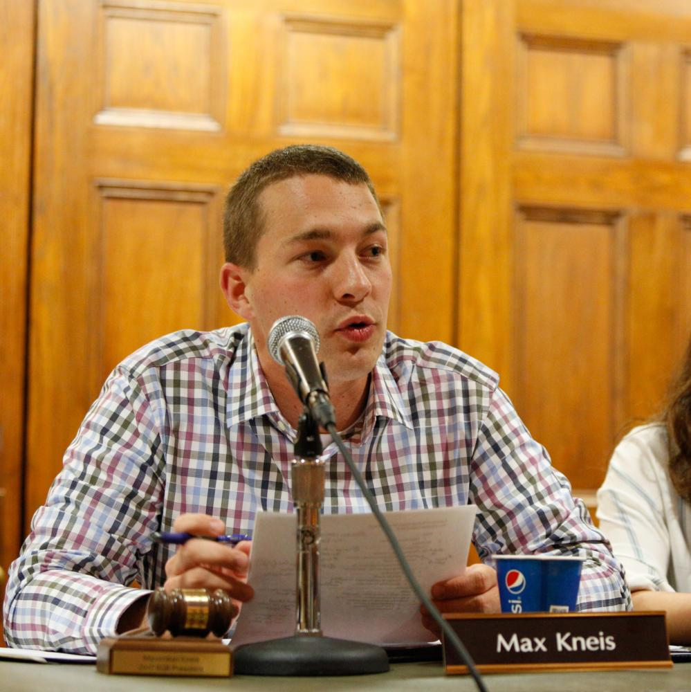 Student Government Board President Max Kneis speaks about their projects for the upcoming at the board's meeting Tuesday. (Photo by Thomas Yang | Staff Photographer)