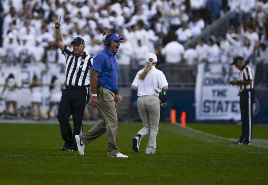 Coach+Pat+Narduzzi+yells+as+he+approaches+the+sideline+during+Pitt%27s+game+against+Penn+State+on+Saturday.+%28Photo+by+Anna+Bongardino+%7C+Assistant+Visual+Editor%29