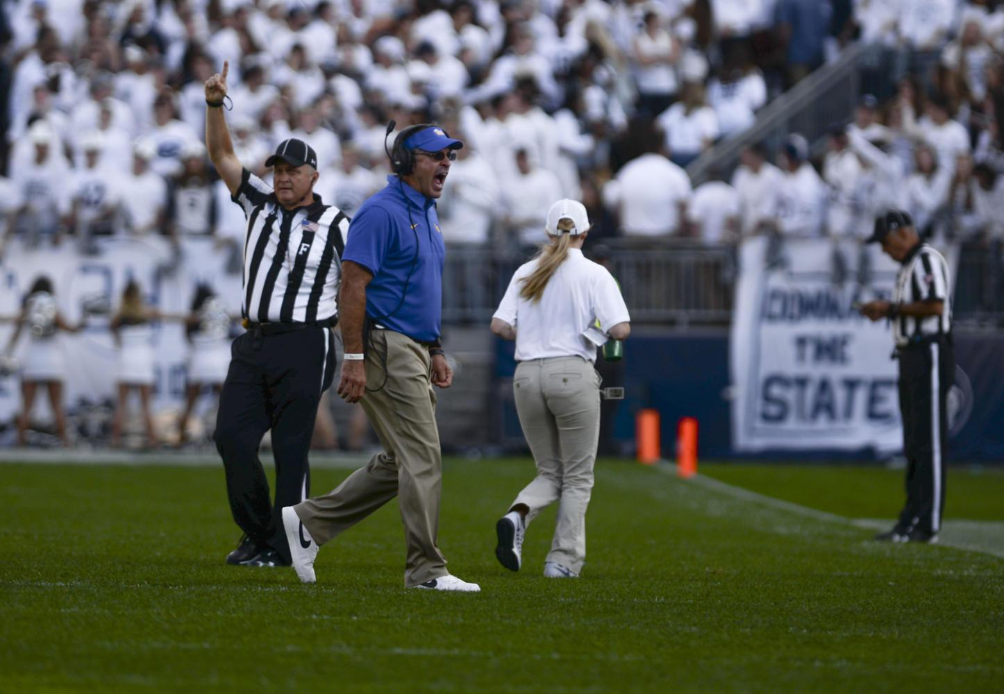 Coach Pat Narduzzi yells as he approaches the sideline during Pitt's game against Penn State on Saturday. (Photo by Anna Bongardino | Assistant Visual Editor)