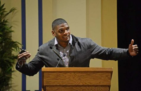 Michael Sam, the NFL's first openly gay athlete, gave a speech at a Rainbow Alliance's event at Pitt last April.  (TPN file photo)