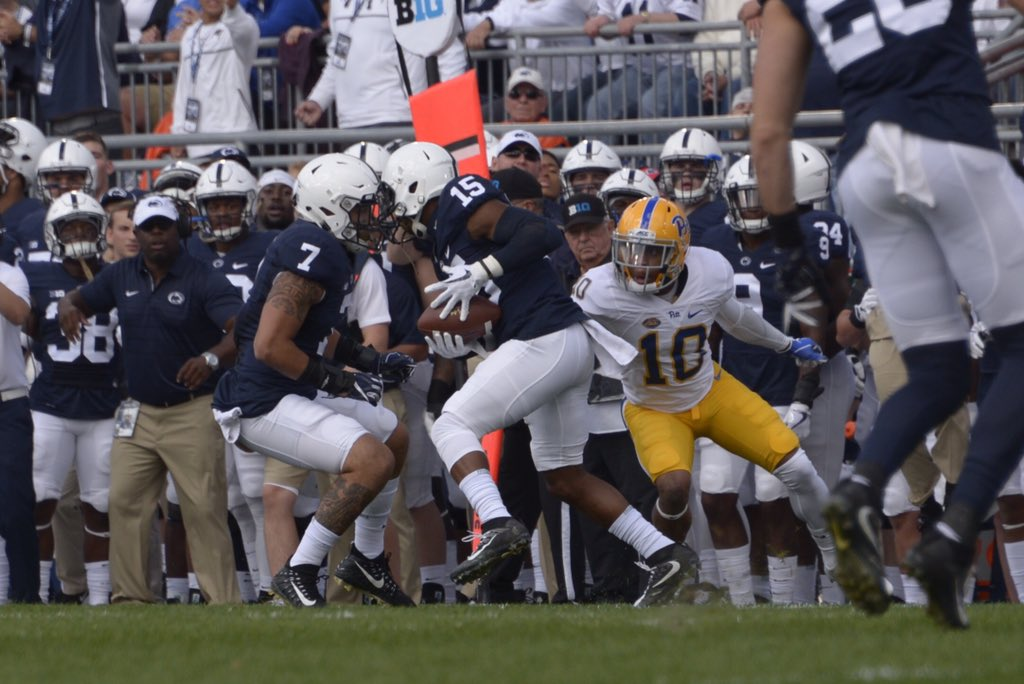 Quadree Henderson tries to make a tackle after Penn State intercepted a pass. (Photo by Wenhao Wu)