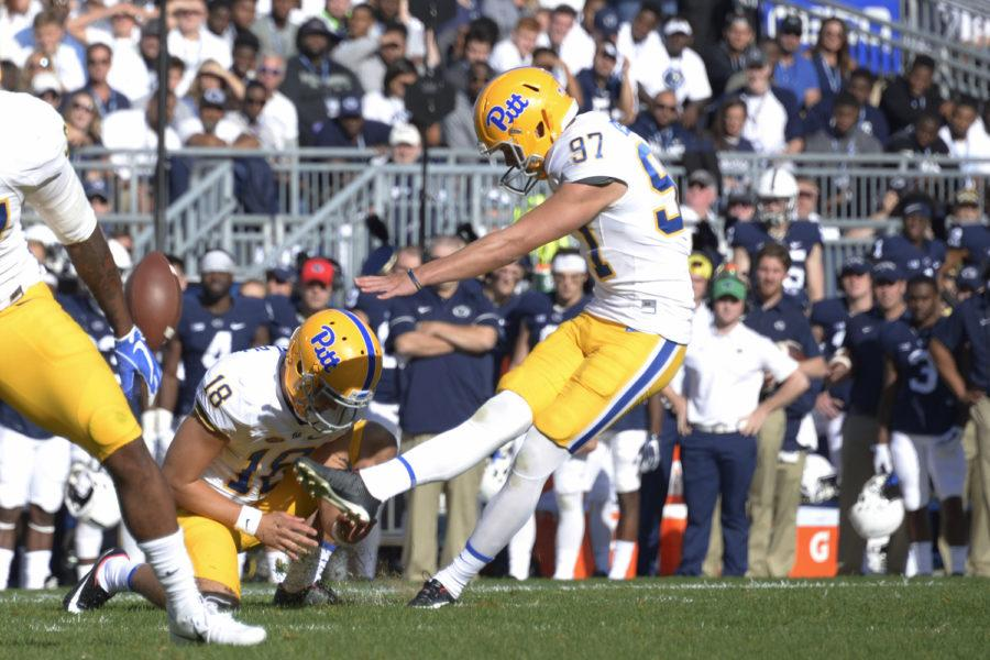 Pitt redshirt freshman Alex Kessman kicks a field goal for Pitt in the Saturday, Sept. 9, game against Penn State. (Photo by Wenhao Wu | Assistant Visual Editor)