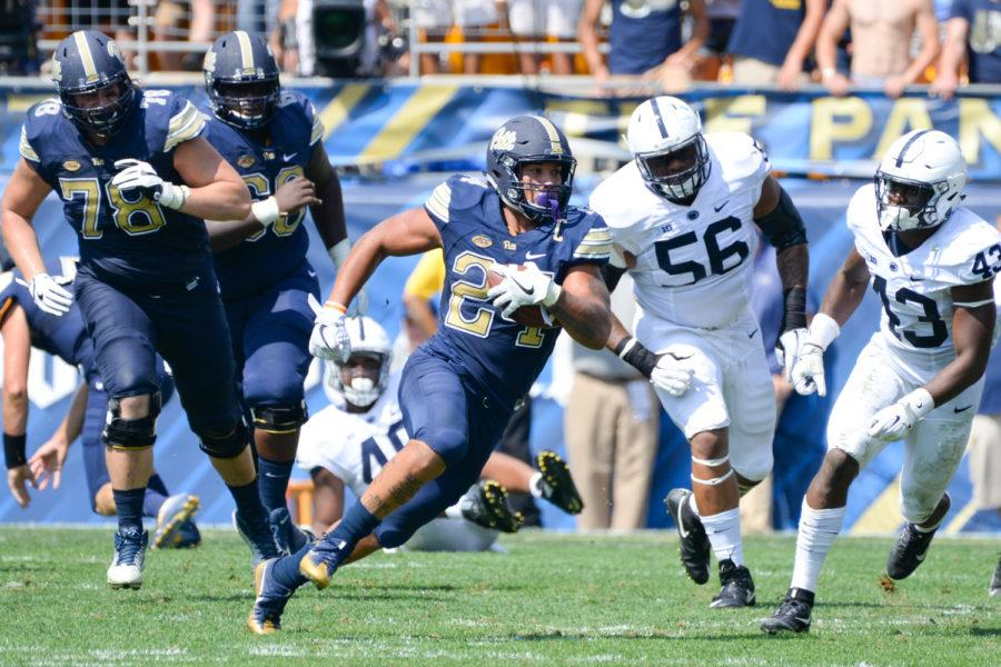 Pitt+former+running+back+James+Conner+rushed+for+117+yards+and+two+touchdowns+in+the+Panthers%27+42-39+victory+over+Penn+State+last+year.+%28TPN+file+photo%29