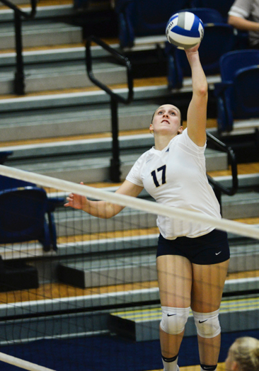 Sophomore Nika Markovic led the Panthers to victory on Friday against St. Louis with eight kills, three aces, and five blocks. (The Pitt News File Photo)