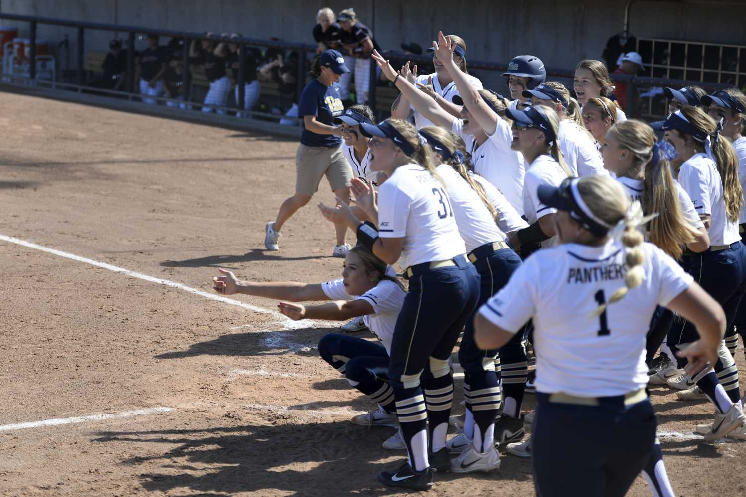 Softball players cheer on their teammate at a Sept. 23 game against Saint Francis University. (Photo by Issi Glatts / Staff Photographer)