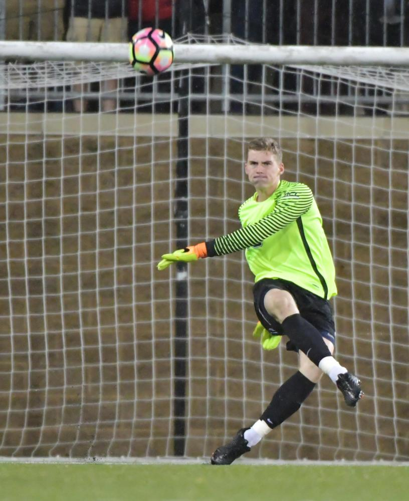 Though the Panthers lost to Wake Forest this weekend, goalkeeper Mikal Outcalt had ten saves. (Photo courtesy of Pitt Athletics)