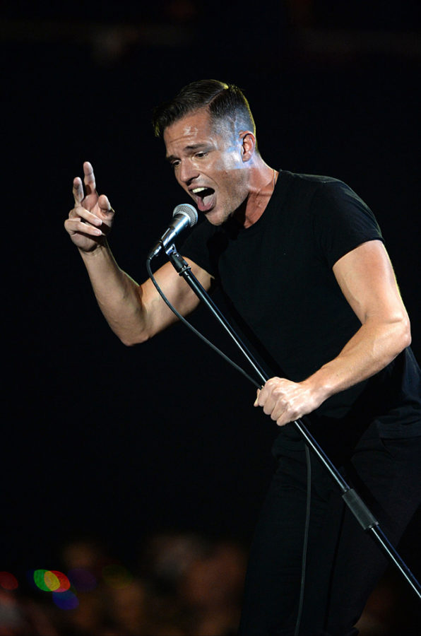The Killers' Brandon Flowers sings during the 2013 MTV Europe Music Awards at the in Amsterdam. (Doug Peters/Abaca Press/TNS)