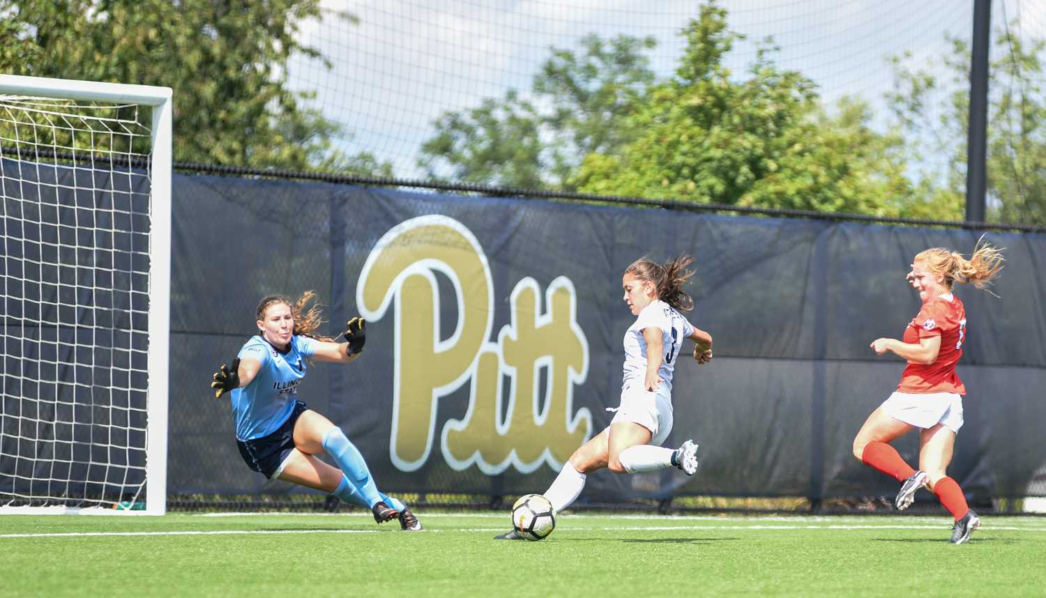 Pitt forward Sarah Krause fires a shot on goal during Pitt's 1-0 loss to Illinois State Sunday afternoon. (Photo by Matt Hawley | Staff Photographer)