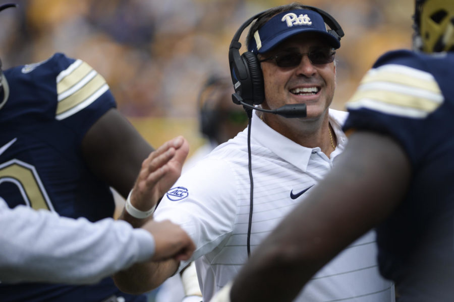 Pat+Narduzzi+will+be+Pitt%27s+%22sole+spokesperson%22+leading+up+to+Penn+State+game.+%28Photo+by+Anna+Bongardino+%2F+Assistant+Visual+Editor%29+