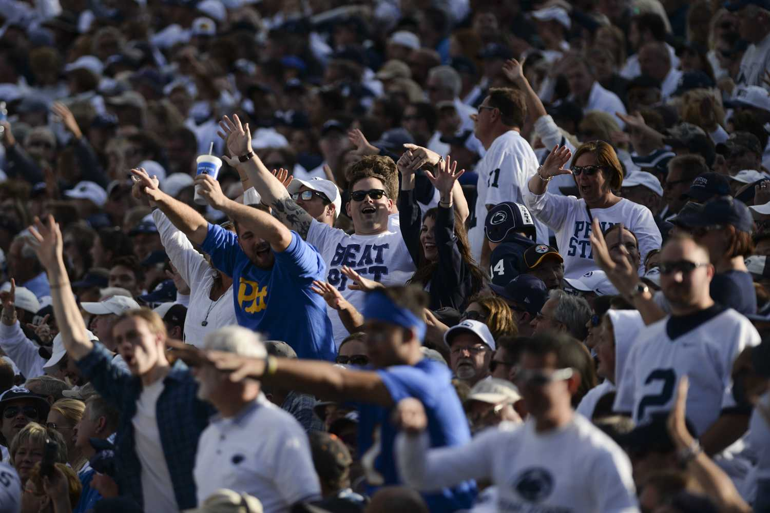 Pitt and Penn State fans cheer on their teams in the fourth quarter. (Anna Bongardino / Assistant Visual Editor)