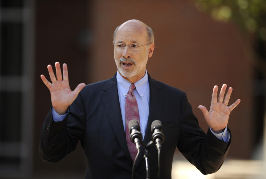 Gov. Tom Wolf, pictured speaking in 2015, will be forced to make sweeping cuts if a revenue plan isn't passed by Friday. (Nabil K. Mark/Centre Daily Times/TNS)