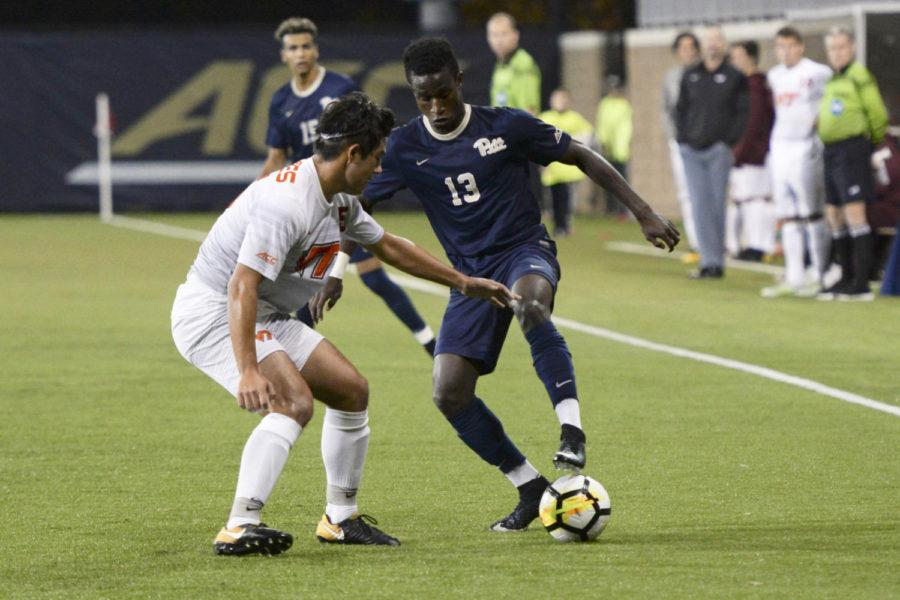 First-year forward Alexander Dexter plays in a home match against Virginia Tech Friday night. (Photo by Sarah Cutshall | Staff Photographer)