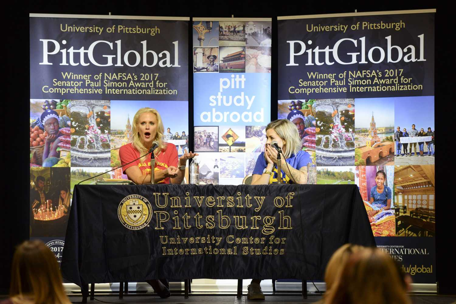 Susie Meister (left) and Sarah Rice — hosts of the 'Brain Candy' podcast — spoke to a crowd of more than 70 people Monday as guests of Pitt's International Week. (Photo by Issi Glatts | Staff Photographer)