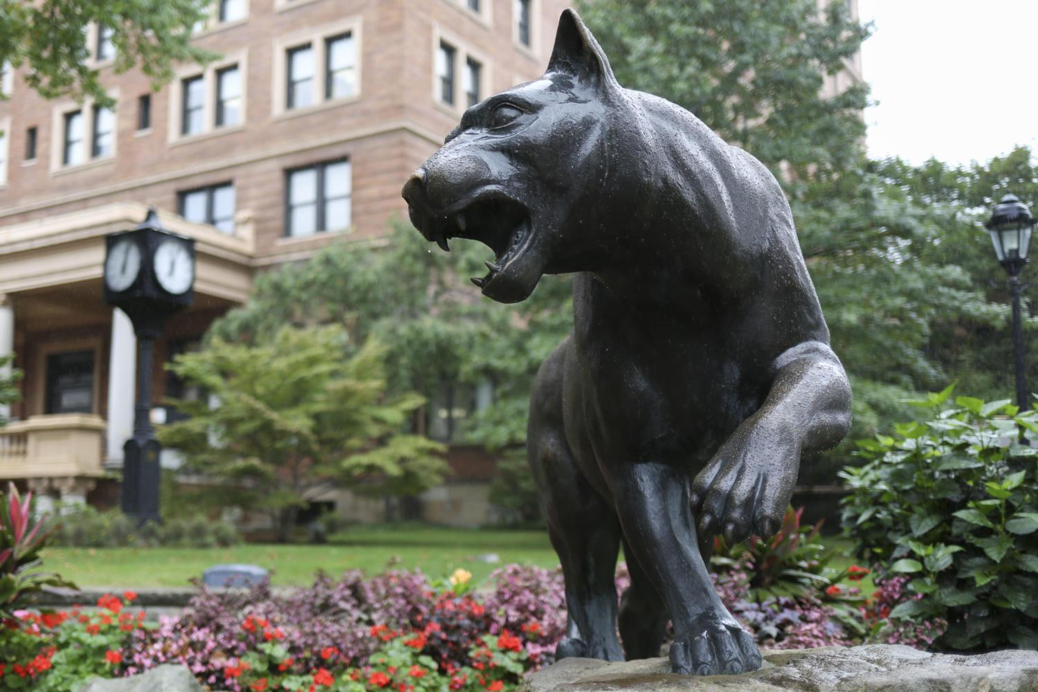 Sculpted in Parma, Italy by Miriani Guido, the panther statue was placed outside the WPU in 2001.(Photo by Thomas Yang | Senior Staff Photographer)
