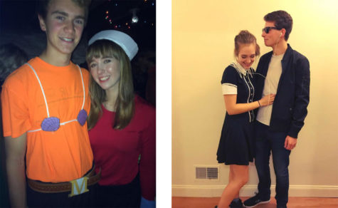 "Davis Kuhn and Josie Manns dressed up as Mermaid Man and Barnacle Boy from ""Spongebob,"