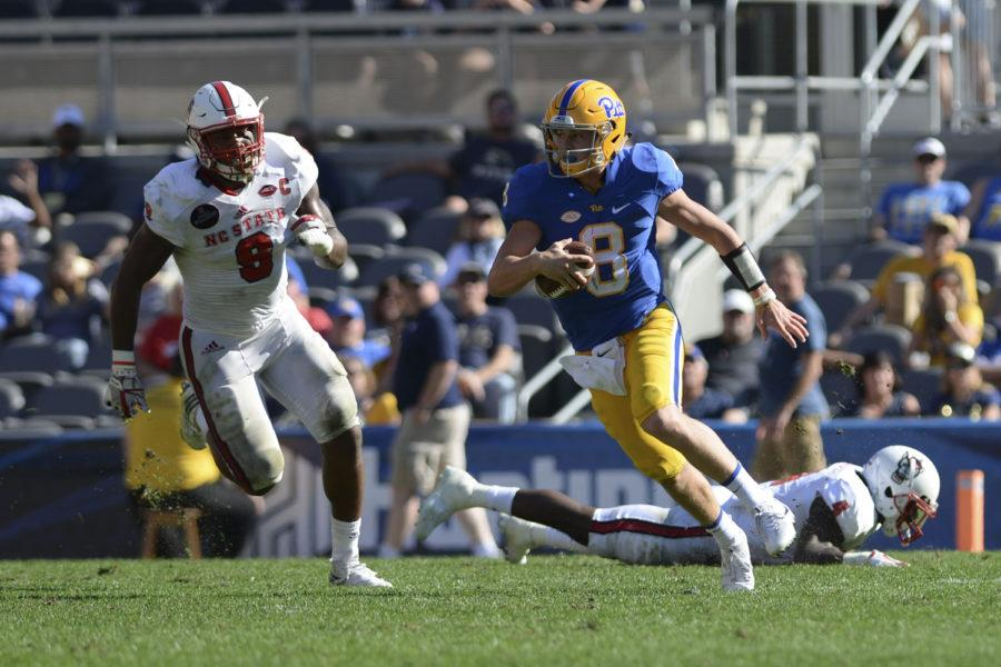 First-year+quarterback+Kenny+Pickett+completed+five+of+13+passes+in+Pitt%E2%80%99s+35-17+loss+to+NC+State.+%28Photo+by+Thomas+Yang+%7C+Senior+Staff+Photographer%29