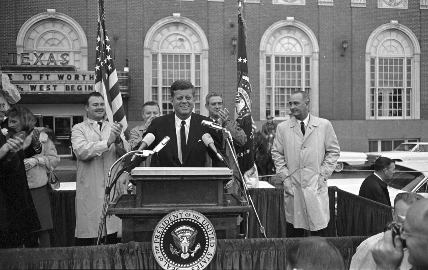 John F. Kennedy speaks to crowd in front of Hotel Texas on the morning of November 22, 1963. (UTA Special Collections/Star-Telegram Collection/TNS)