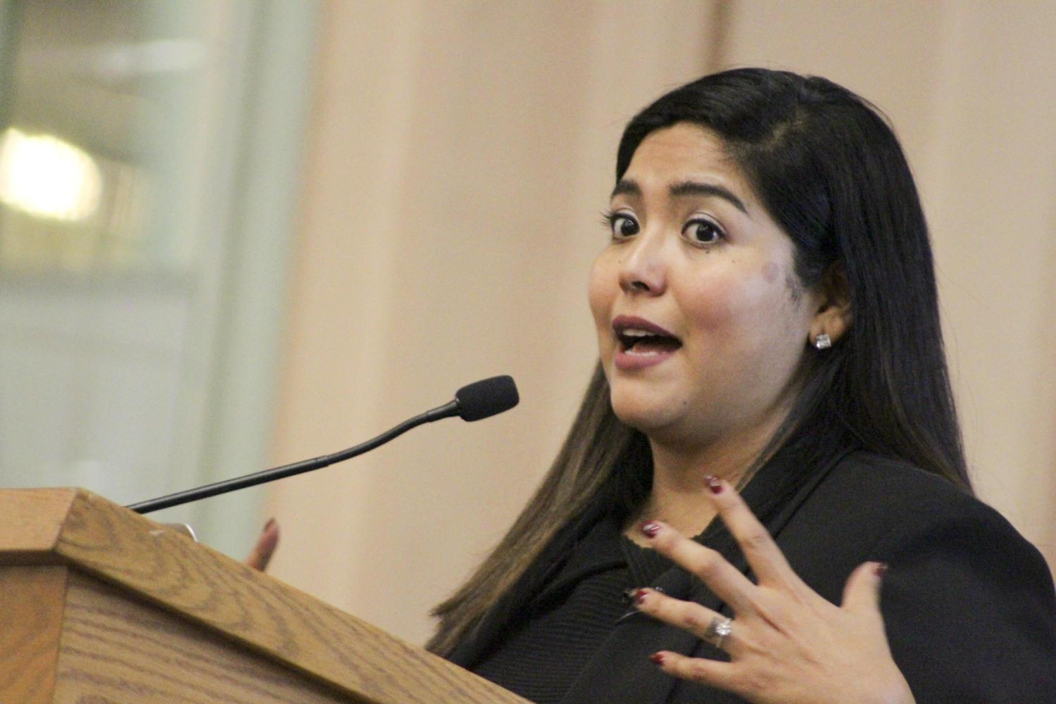 Author Julissa Arce shares her story about the American Dream Thursday as part of Pitt's International Week. (Photo by Hari Iyer | Staff Photographer)