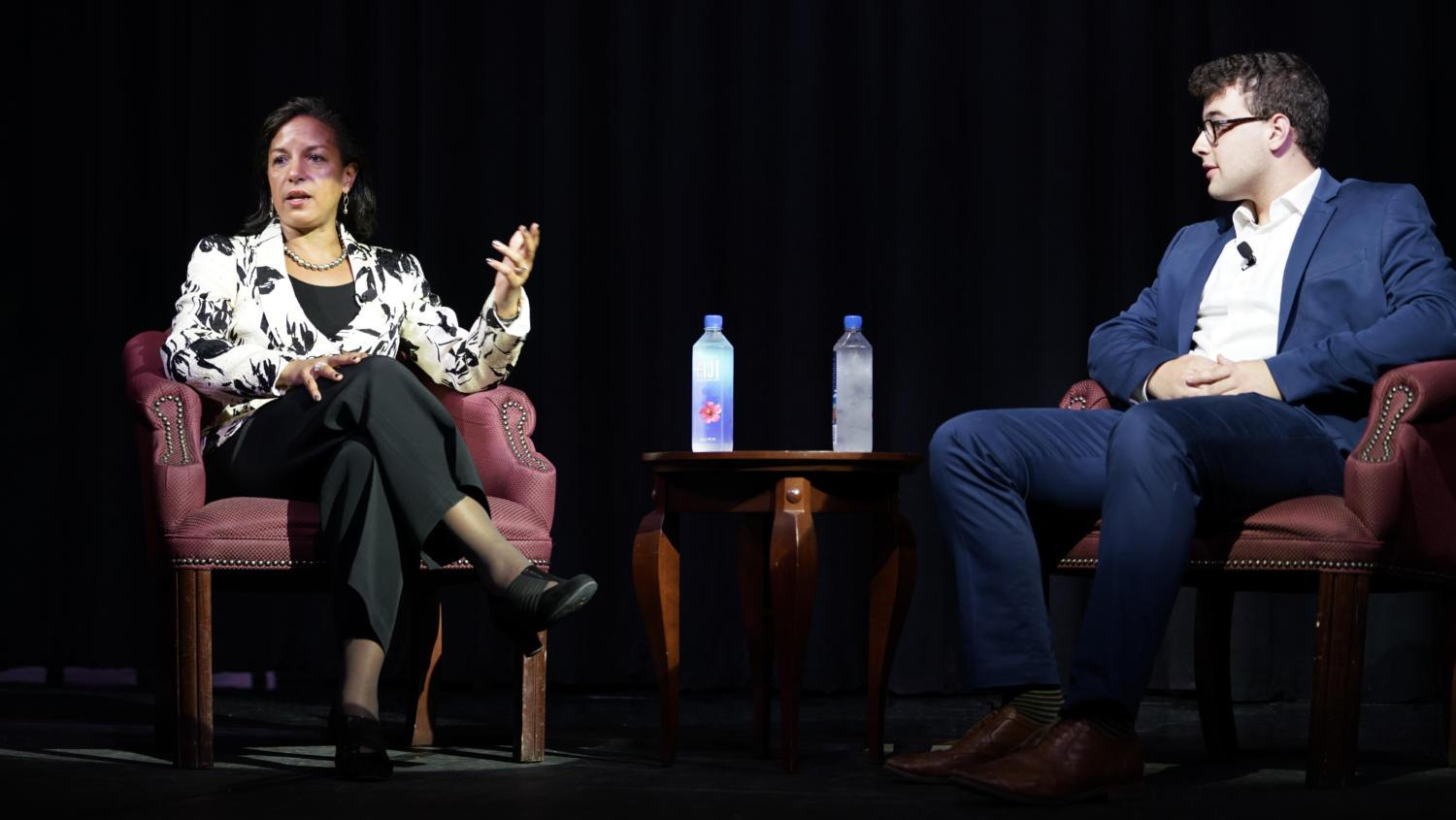 Susan Rice (Left), Former National Security Advisor and US Ambassador to the United Nations, participated in a moderated discussion in WPU Assembly Room on Thursday evening(Photo by Li Yi | Staff Photographer)