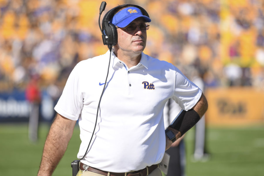 Head+coach+Pat+Narduzzi+praised+running+back+Darrin+Hall%E2%80%99s+performance+in+his+press+conference+Monday.+%28Photo+by+Anna+Bongardino+%7C+Assistant+Visual+Editor%29