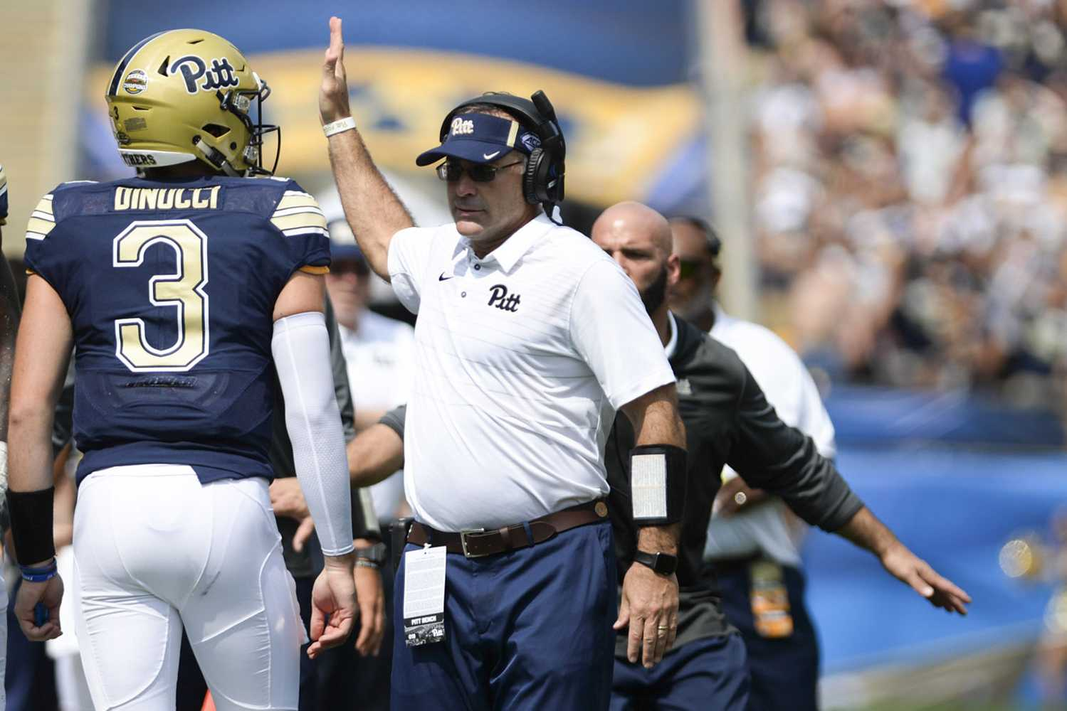 Head coach Pat Narduzzi announced Ben DiNucci as the starting quarterback for Saturday's game against North Carolina State. (Photo by John Hamilton | Managing Editor)