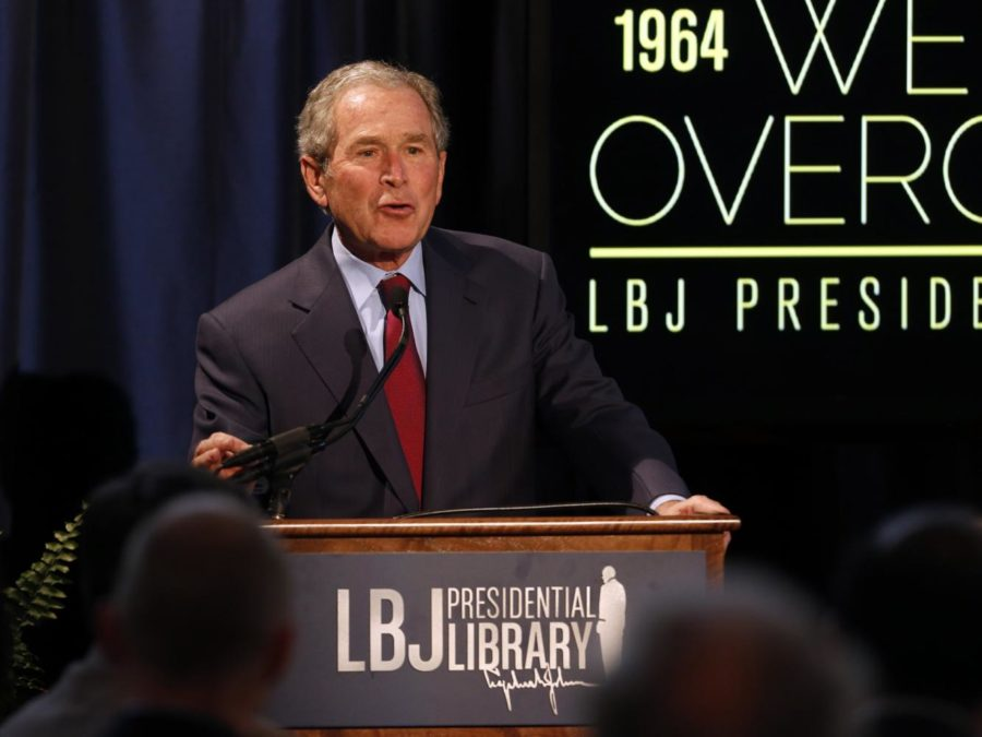 Former+President+George+W.+Bush+gives+a+speech+during+the+2014+Civil+Rights+Summit+at+the+LBJ+Presidential+Library+in+Austin%2C+Texas.+%28Vernon+Bryant%2FDallas+Morning+News%2FMCT%29%0A