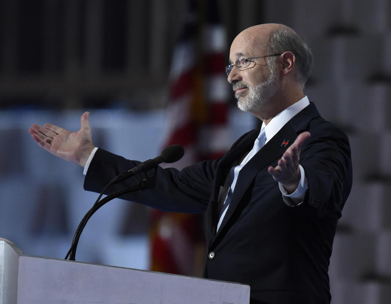 Pennsylvania Gov. Tom Wolf speaks during the last day of the 2016 Democratic National Convention at the Wells Fargo Center in Philadelphia. (Clem Murray/Philadelphia Inquirer/TNS)