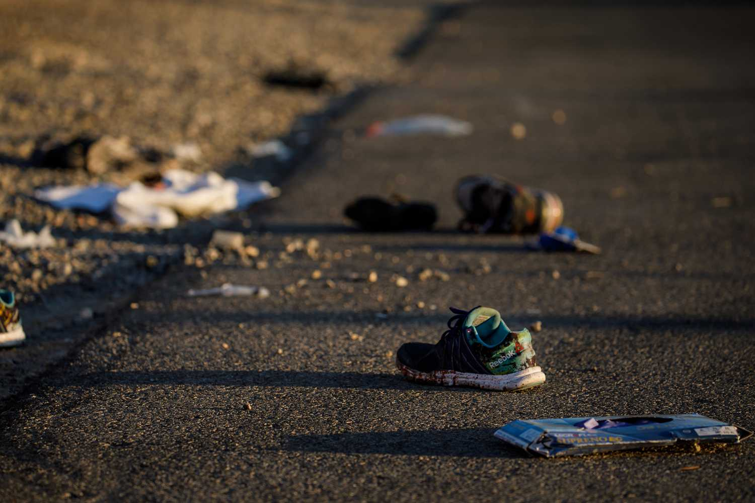 Discarded personal items covered in blood sit on Kovaln Lane, in the aftermath of the mass shooting in Las Vegas, Nevada.  (Marcus Yam/Los Angeles Times/TNS)