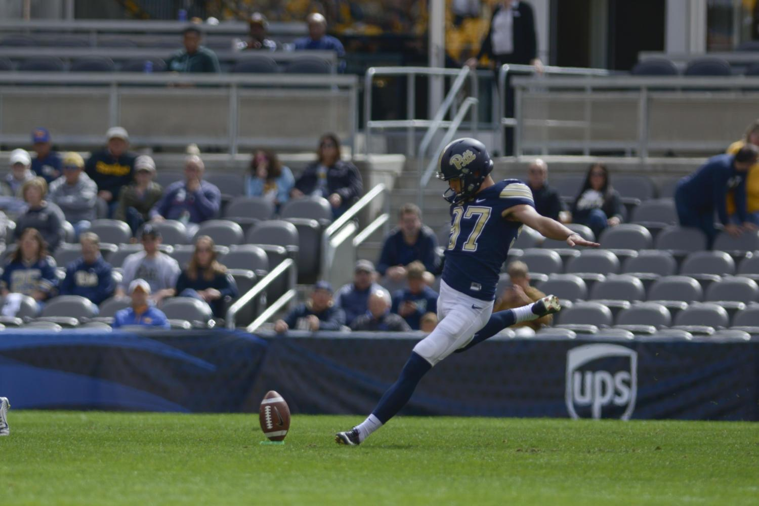 Placekicker Alex Kessman has racked up 34 points on the season so far. (Photo by Wenhao Wu | Assistant Visual Editor)