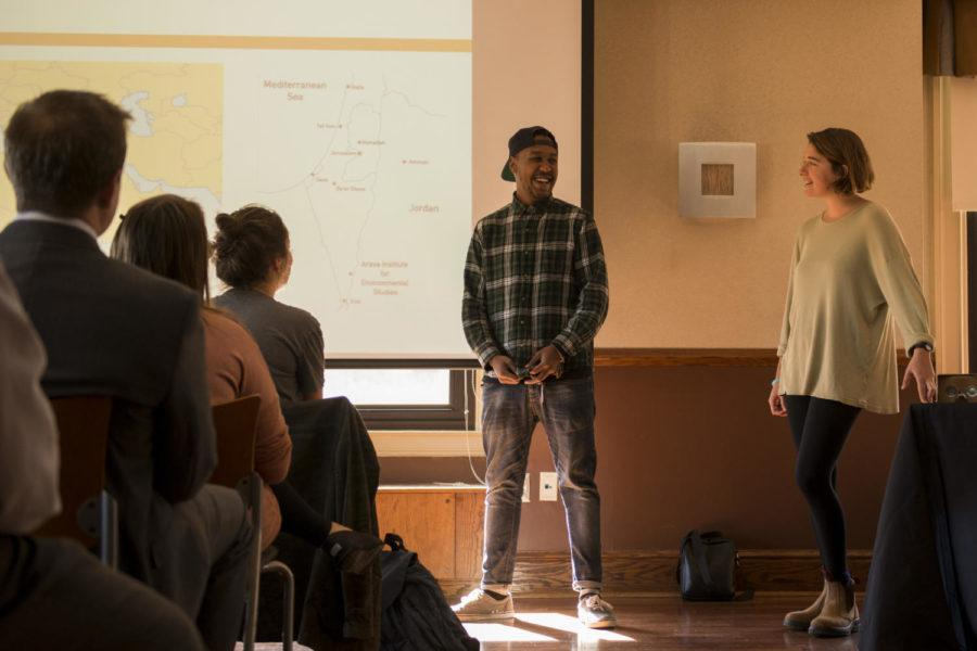 Shadi Shiha (left) and Eve Tendler led a discussion about Palestine and Israel environmental issues Thursday as part of Pitt's International Week. (Photo by Sarah Cutshall | Staff photographer)