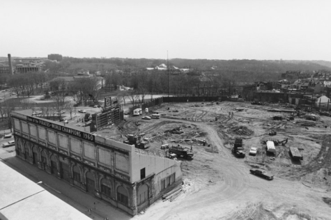 Posvar Hall was built on the plot where Forbes Field was demolished.(Photos via ULS Archives)