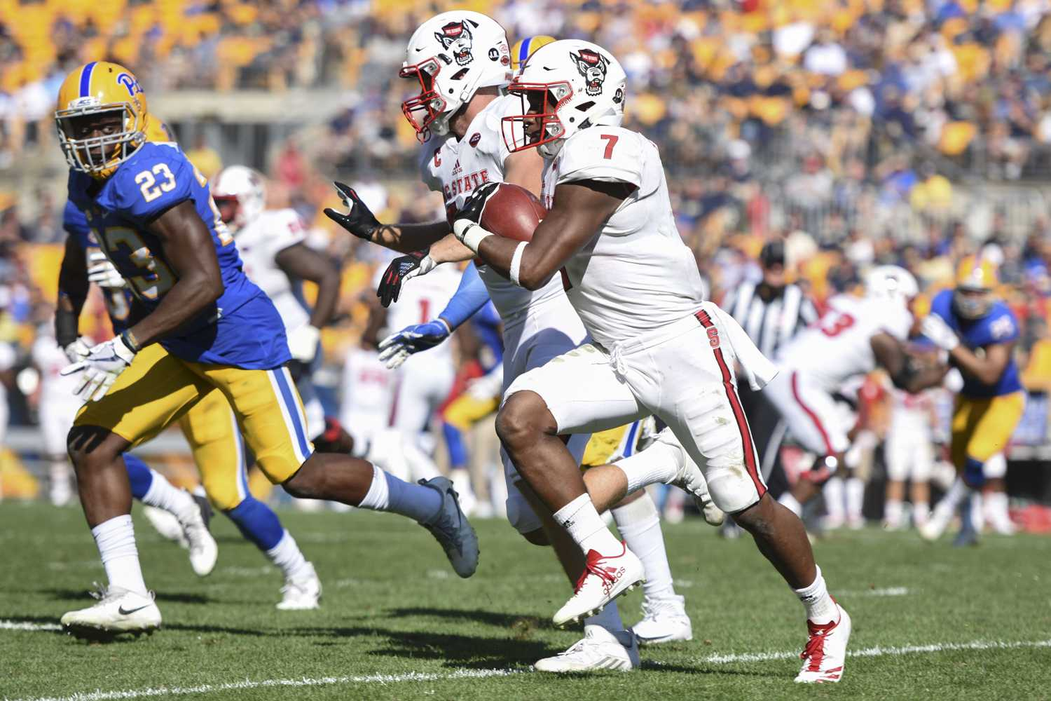 NC State football moved into the top three of this week's TPN power rankings after its 27-24 win against Pitt. (Photo by Anna Bongardino   Assistant Visual Editor)