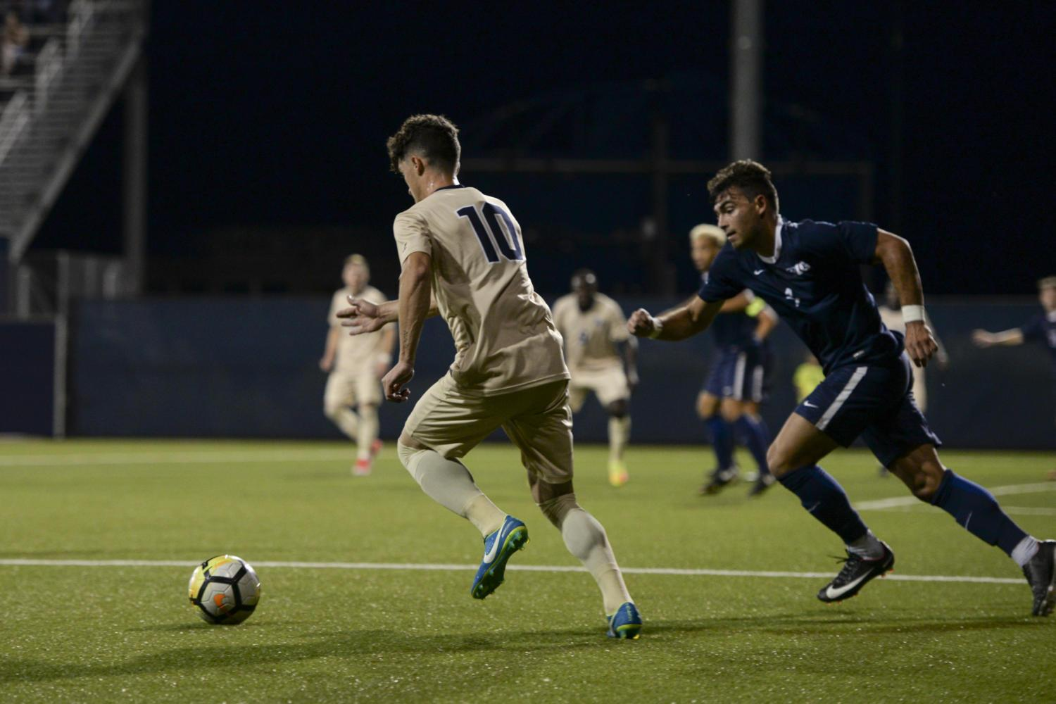 Marcony Pimentel scored a goal in Pitt men's soccer's win over Penn State in overtime Tuesday night. (Photo by Betty Shen | Staff Photographer)