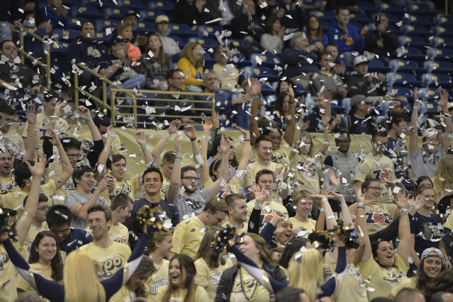 The Oakland Zoo celebrated the Panthers' first score at the 93-90 victory over Eastern Michigan last November. (TPN file photo)