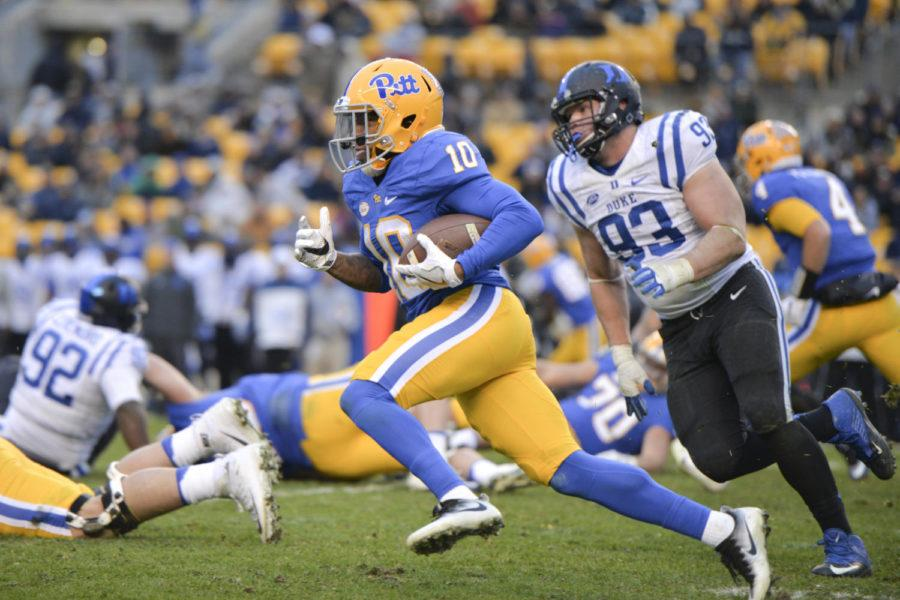 Quadree+Henderson+rushed+for+73+yards+during+Pitt%E2%80%99s+56-14+victory+against+Duke+last+year.+%28Photo+by+Jordan+Mondell+%7C+Contributing+Editor%29
