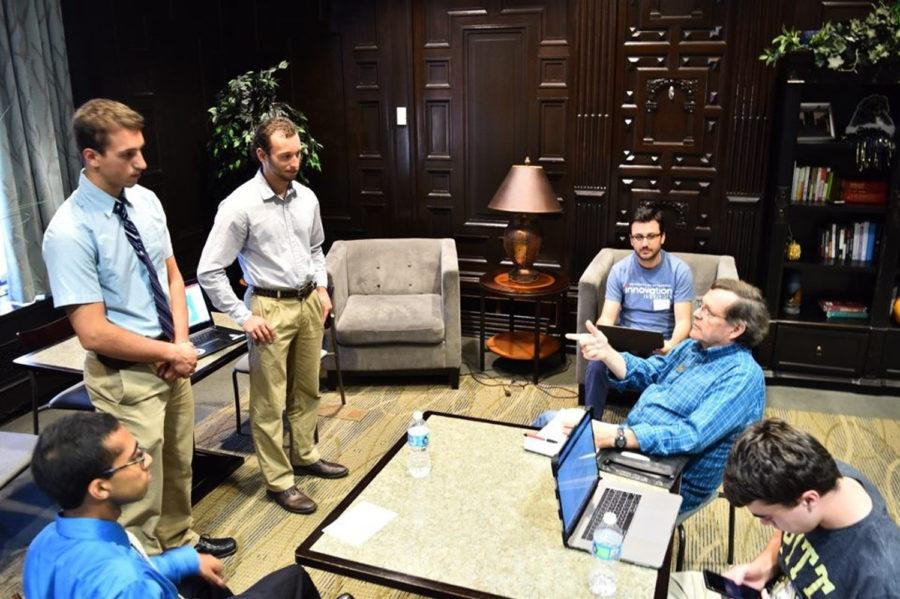 """Junior mechanical engineering major Andrei Mihailescu and his teammates entered the shopping network app, """"Tag Along,"""" in Pitt's Innovation Institute's 24-hour Startup Blitz. (Photo courtesy of Andrei Mihailescu)"""