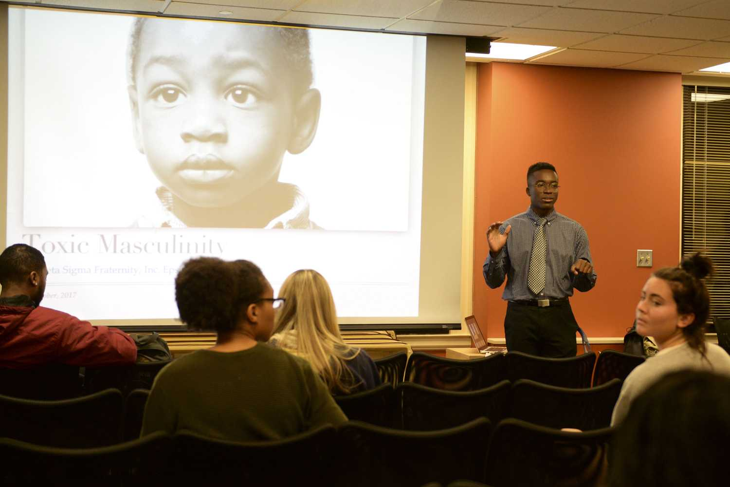 About 20 people attended a talk on toxic masculinity, hosted by Pitt's chapter of Phi Beta Sigma in the William Pitt Union Monday night. (Photo by Evan Meng | Staff Photographer)